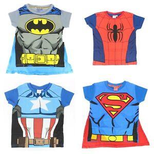 Fancy Dress T-Shirt DC Marvel Superman Captain America Batman Spiderman New