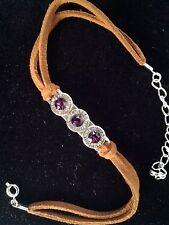 Genuine Amethyst Swarovski Crystal*Bullet Triple 9mm Leather Ankle Bracelet