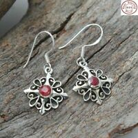 Red Ruby Stone 925 Sterling Silver Handmade Earrings Ethnic Jewelry