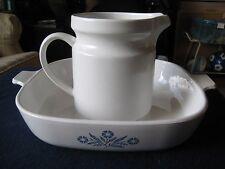 "VTG Corning Ware Blue Cornflower 10"" Casserole Dish (no Lid) & Ceramic pitcher"