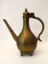 ANTIQUE INDIAN MUGHAL ISLAMIC BRASS AFTABA EWER ENGRAVED SIGNED 18th CENTURY