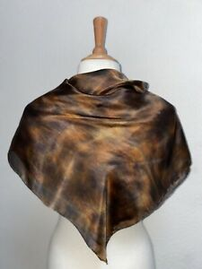 Square Silk Scarf in Browns 90 cm x 90 cm Hand Painted & Dyed by Designer Silk