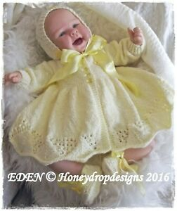 A5 PAPER KNITTING PATTERN EDEN (3 Sizes 0-12mths)  Reborn/Baby