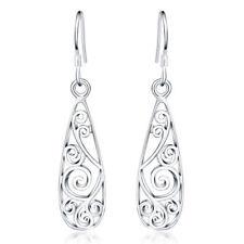 New 925 Sterling Silver Filled Filigree Flower Drop Dangle Earrings VINTAGE LOOK