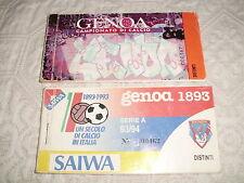 2 ABBONAMENTI CALCIO GENOA 1893 STAGIONI 1993/94 1996/97 CON TAGLIANDI
