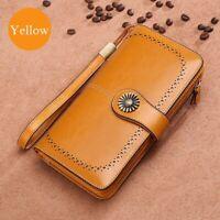 Vintage Genuine Leather Long Bifold Wallet Women Money Card Holder Clutch Purse