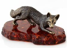 Cognac Baltic Amber Fox while Hunting Solid Brass Animal Figurine Sculpture 2.7""