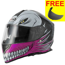 Vcan V127 Full Face DVS ACU Motorbike Motorcycle Helmet Hollow Pink + Free Visor