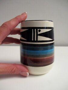 Colorful Vintage Inuit Eskimo Spirit Bird Art Pottery Signed Vessel Nice Piece!