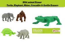 Wild animal Eraser, Turtle, Elephant, Rhino, Crocodile & Gorilla Erasers