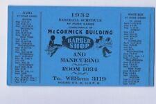 1932 CHICAGO CUBS & WHITE SOX Baseball Home Schedule Barber Shop Ad Card