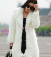Women's Ladies Long Faux Fur Coat Long Lapel Coat Outwear Fashion Coat Jacket sz