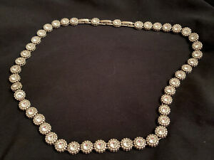 Estate BRIGHTON TWINKLE LINK Silver Round Crystal Collar NECKLACE