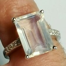Arctic Quartz & White Topaz.Sterling Silver Ring Hallmarked 7.85cts Size N-0