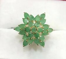 14k Solid Yellow Gold Emerald Cluster Flower Ring 3.75GM 2.64CT Size 8