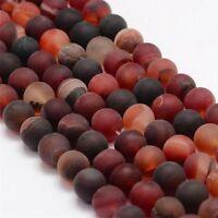 Natürliche Indische Achat Perlen 6mm Frosted Rot  Rund Edelsteine BEST G734
