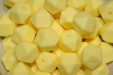 17mm Silicone loose Beads BPA Free cream Yellow x10 Hexagon lead free certified