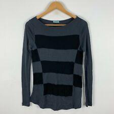 Kookai Wool Shirt Top Womens Small Grey Striped Long Sleeve Boat Neck