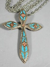 Vintage Old Pawn Inlaid Coral & Turquoise Silver Cross Pendant on Long Chain