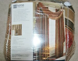 NEW set of 2 JCP Jacquard Panel Valance scarfs jewel tones red sage gold taupe