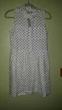 The Loft Polka Dot Dress Button Down Lined Size 4P NWT
