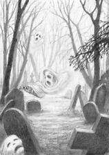 Tarjeta de Felicitación en Blanco Única espeluznante-Fantasmas Volar En La Niebla