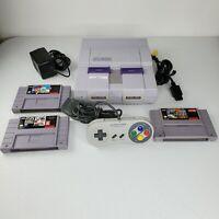 Super Nintendo SNES System Console Bundle 1 Controller, 3 games Av + Power Cords