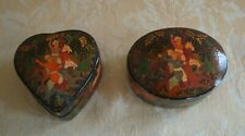 Two Vintage Persian Black Lacquer Trinket Boxs Decorated With Warriors On Horses