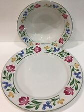 Farberware Dorchester 2 Piece Hostess Set Stoneware White Plates Floral Border