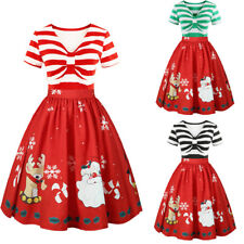 Plus Size XL-5XL Women XMAS 50's Dress Rockabilly Pin Up Vintage Christmas Red