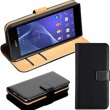 BLACK REAL GENUINE LEATHER WALLET CARD SLOT FLIP CASE FOR SONY PHONE UK SELL
