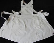 VINTAGE EMBROIDERY ANGLAISE SNOW OLD COTTON VICTORIAN MAID APRON IMMACULATE