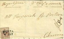 2570-LOMBARDO VENETO, 30 CENTES.( Sass.9 TIPO II), DA MONZA A CHIAVENNA, 1855