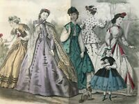 GODEY'S LADY'S BOOK Magazine - May 1866 - HAND COLORED FASHION ENGRAVINGS