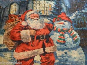 Santa And Presents Flashing Tapestry Christmas Picture With LED Lights 60x40cm