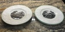 LOT OF 4 WEDGWOOD ETRURIA PATRICIAN AK870 LUNCHEON Plates WATER SCENE GREEN TRIM