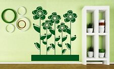 Wall Vinyl Sticker Decal Flowerbed Flowers Roses Daisies Daisy Decor (n121)