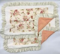 "Pair 12"" X 20"" VINTAGE RECREATIONS Pillow Covers Ruffled Flora Country Farmhouse"