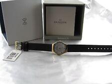 Skagen DAU Grenen Mother of Pearl Schwarzes Leder Armband und  Perlmutt SKW2209