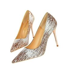 Fashion Womens Sequins Stiletto High Heels Pointed Toe Pumps Party Sandals Shoes