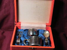 Sterling 950  4pc BABY SPOON, FORK, CUP, & NAPKIN RING SET ORIGINAL BOX NM 94g
