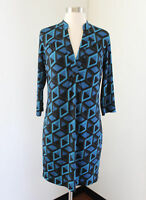 NWT Banana Republic Blue Geometric Print Shift Shirt Dress Size S 3/4 Sleeve