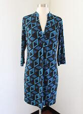 NWT Banana Republic Blue Geometric Print Shift Shirt Dress Size S 3/4 Sleeve