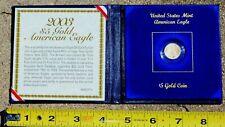 Rare BU $5 American US Gold Eagle with COA & Original US Mint Folder
