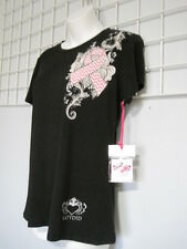 Katydid Size Junior Medium BREAST CANCER RIBBON T-Shirt in Black NWT