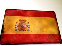Espagne Drapeau Pavillon Panneau Métallique Plaque Voûté Étain Signer 20 X 30 CM