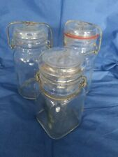 Small Vintage Unbranded Canning Jars with Wire Bail & Glass Lid Clear Glass