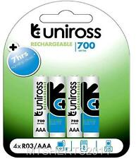 4 Pack Uniross AAA R03 700 Series Rechargeable Batteries Battery IX14