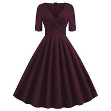 Women's Rockabily Dress V-Neck Vintage 50s Swing Retro Solid Party Dresses