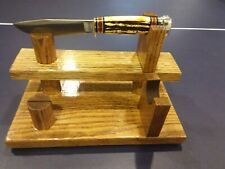 """1--15 1/2"""" wide,SOLID NORTHERN RED OAK LEFT FACING DOUBLE KNIFE DISPLAY STAND"""
